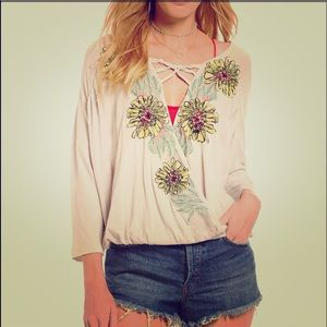 NWT Free People Gotta Love It Embroidered Blouse